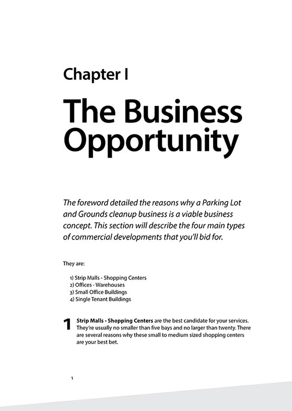 Cleanlots Operators Manual - Chapter 1 p.1