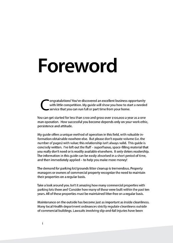 Cleanlots Operators Manual - Foreward p.1